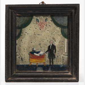 Reverse Painting on Glass Depicting George Washington