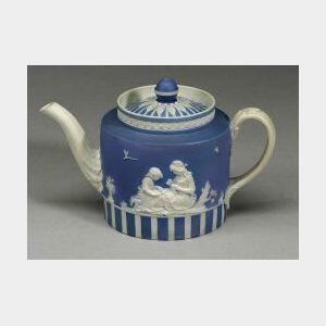 Wedgwood Pale Blue Jasper Dip Teapot and Cover