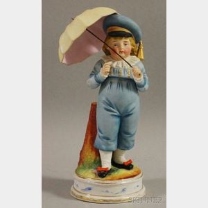 Continental Painted Bisque Porcelain Boy with Umbrella