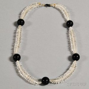 Crystal and Black Bead Necklace