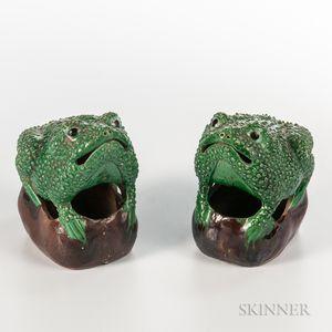 Pair of Famille Verte Frogs