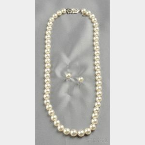 Cultured Pearl Necklace and Earstuds, Mikimoto