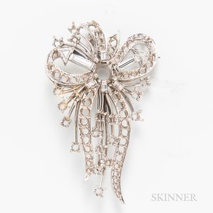 14kt White Gold and Diamond Bow Brooch