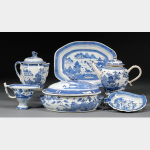 Six Blue and White Chinese Export Porcelain Table Items