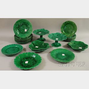 Twenty-five Pieces of Wedgwood Green Majolica Glazed Tableware