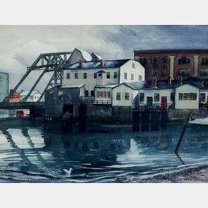 Yngve Edward Soderberg (American, 1896-1971)      Mystic River View, Medford, Massachusetts