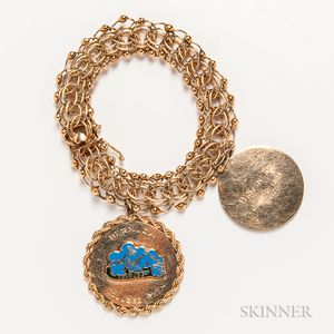 14kt Gold Bracelet with Two 14kt Gold  and Enamel Charms
