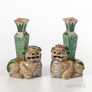 Pair of Famille Verte Foo Lion Incense Holders