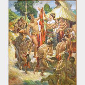 "Nestor Redondo (Filipino, 1928-1995)      ""TAKIK"" A Bontoc Courtship Dance"