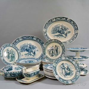 Extensive Assembled Wedgwood Blue Transfer-printed Ivanhoe Dinner Service