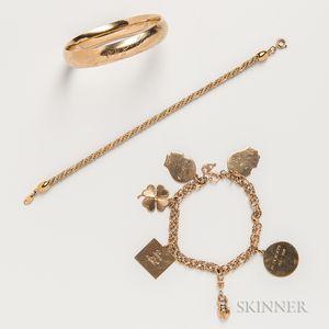 Two 14kt Gold Bracelets and a Trefari Costume Bracelet