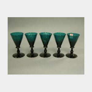 Set of Five Emerald Glass Wines.