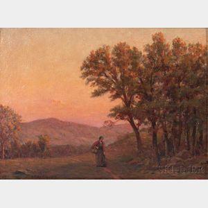 Horace Burdick (American, 1844-1942)    Traveler on a Road at Dusk