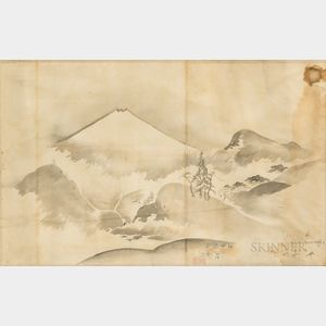 Two Framed Japanese Watercolor Mountainscapes