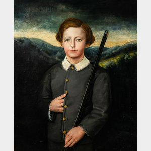 Anglo-American School, 19th Century      Boy in a Gray Suit Holding a Rifle
