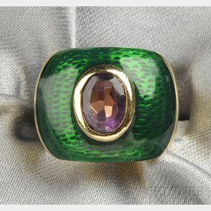 18kt Gold, Enamel, and Amethyst Ring