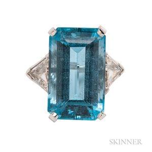 Platinum, Aquamarine, and Diamond Ring