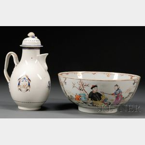 Chinese Export Porcelain Ewer and Punch Bowl