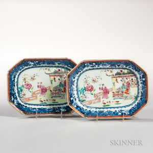 Pair of Small Octagonal Export Porcelain Platters
