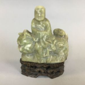 Green Hardstone Carving of a Man on a Mythical Creature
