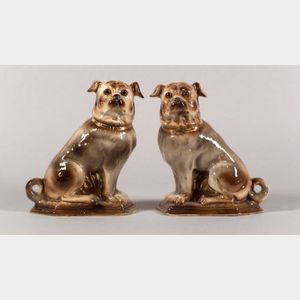 Pair of Earthenware Pug Dogs