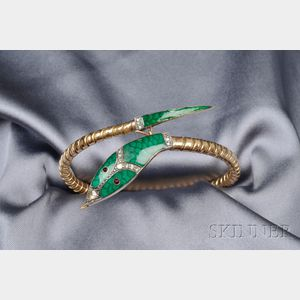 18kt Gold, Enamel, and Diamond Snake Bracelet