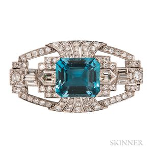 Art Deco Platinum, Aquamarine, and Diamond Brooch