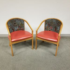 Pair of Mid-century Modern Upholstered Teak Armchairs