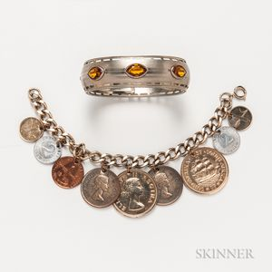 Silver Charm Bracelet with Coin Charms and a Costume Bangle