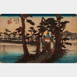 Utagawa Hiroshige (1797-1858), Yoshiwara: Mount Fuji on the Left
