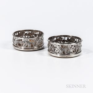 Near Pair of Sterling Silver Wine Coasters