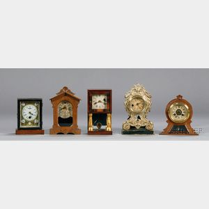 Group of Five Miniature Novelty Clocks by Various Makers