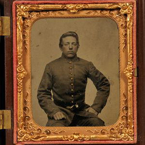 Sixth-plate Tintype Portrait of a Young Soldier