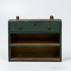 Green- and Yellow-painted Hanging Shelf with Drawer