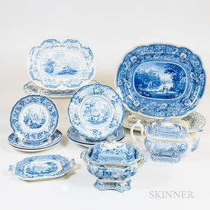 Group of Blue and White Transfer-decorated Tableware
