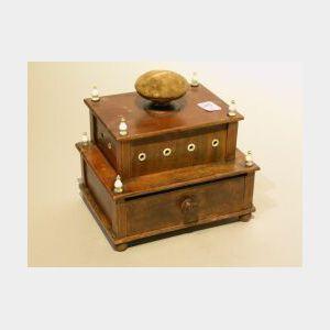 Nantucket Ivory Mounted Inlaid Mahogany Sewing Box.