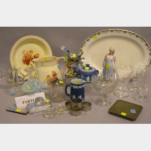 Group of Decorative Glassware, Ceramics, Linens, and Metalware