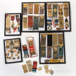Collection of Fireman's Buttons, Medals, and Ribbons
