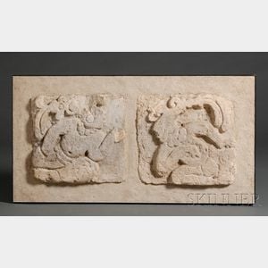 Two Pre-Columbian Relief-Carved Stucco Panels