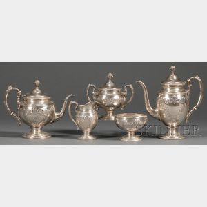 Five-piece Rococo-style Sterling Silver Tea and Coffee Service