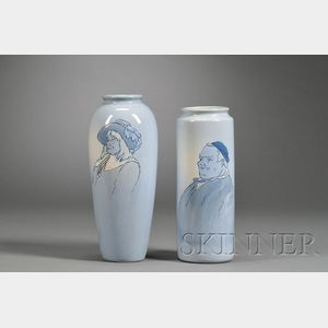 Two Weller Dickensware Second Line Pottery Vases