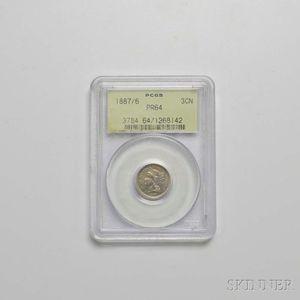1887/6 Three Cent Nickel Trime, PCGS PR64.