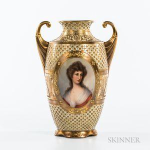 Dresden Porcelain Portrait Vase