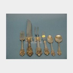 Forty Piece Wallace Sterling Silver Grande Baroque Partial Flatware Set.