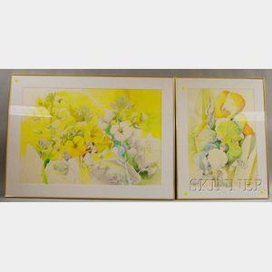 Denise Schwander (Swiss, b. 1945)      Five Floral Paintings: Irises ,  Buttercups ,  Sunflowers ,  Mullein