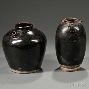 Two Black-glazed Jars