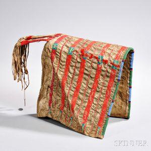 Lakota Quilled and Beaded Hide Half Cradle