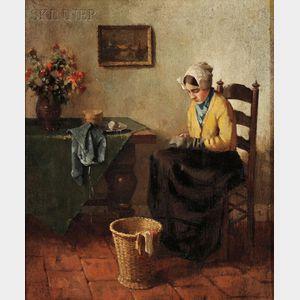 Evert Jan Ligtelijn (Dutch, 1893-1975)      Quietly Mending