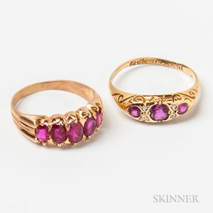 Two 18kt Gold and Ruby Rings
