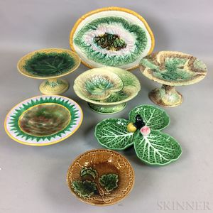 Twelve Majolica Ceramic Compotes and Dishes.